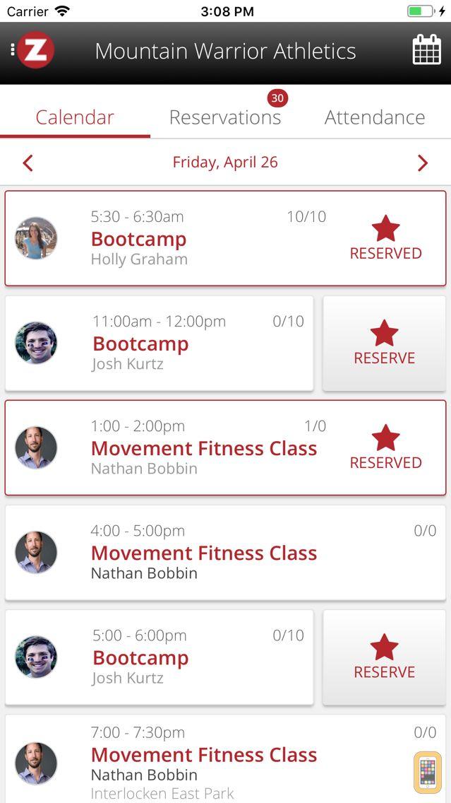 Screenshot - Zen Planner Member App