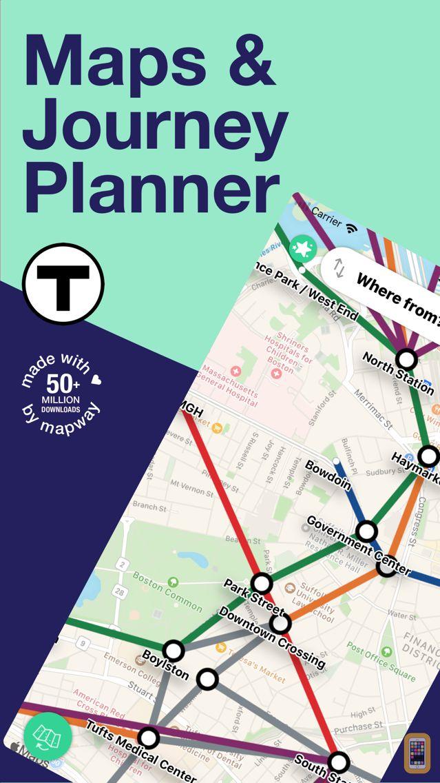 Subway Map In Boston.Boston T Map Mbta Subway Map For Iphone Ipad App Info Stats
