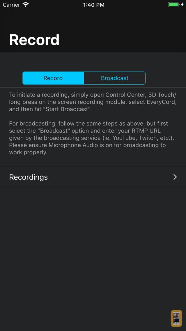 Screenshot - EveryCord – Record & Broadcast