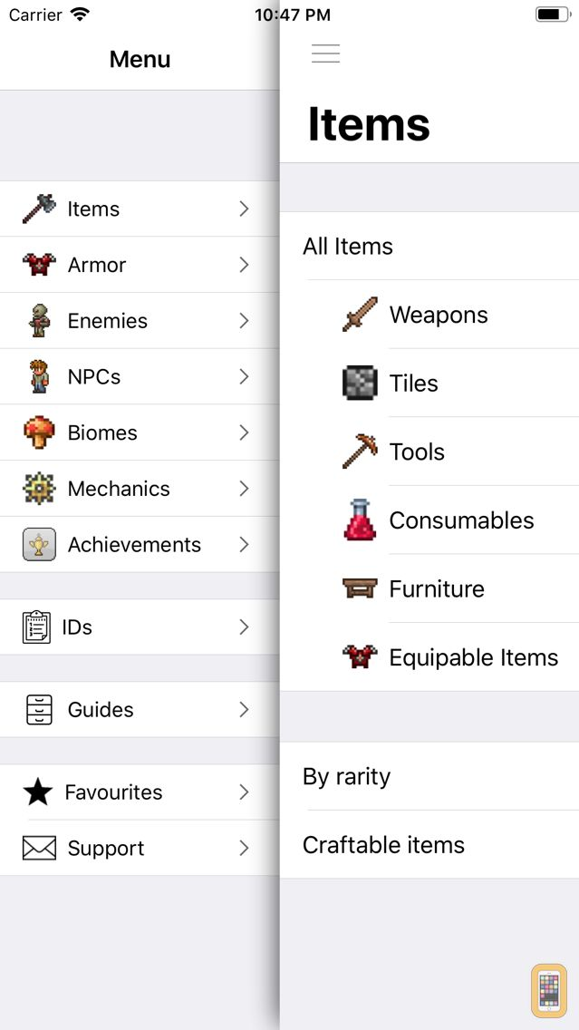 Screenshot - Pocket Wiki Plus for Terraria