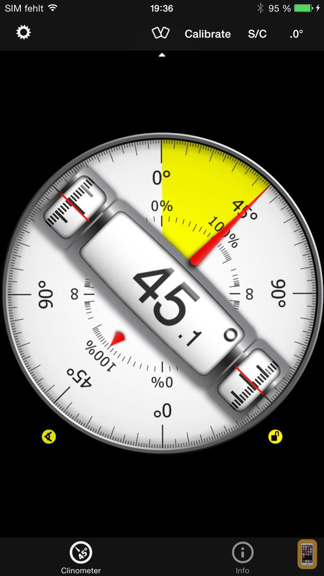 Screenshot - Clinometer + bubble level