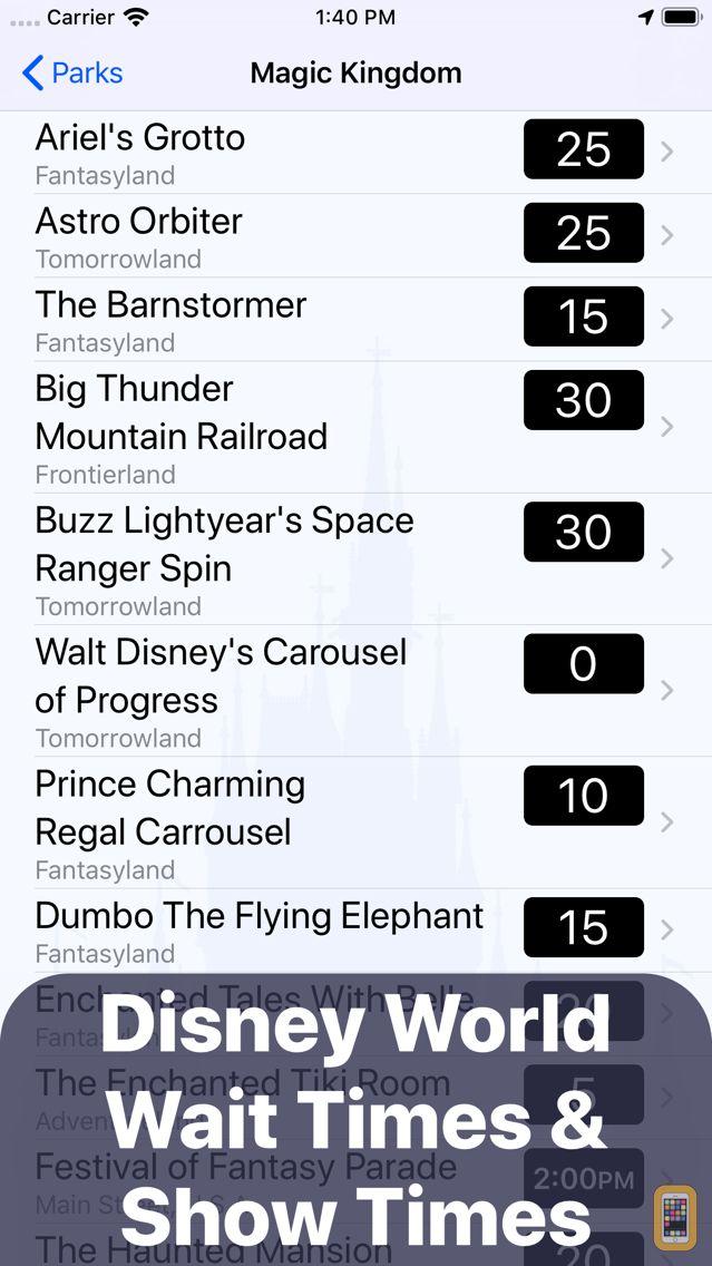 Screenshot - Wait Times for Disney World