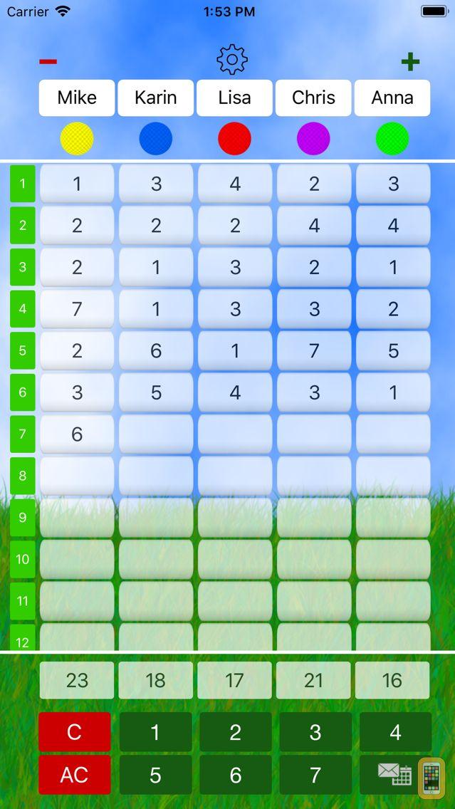 Screenshot - Mini Golf Score Card