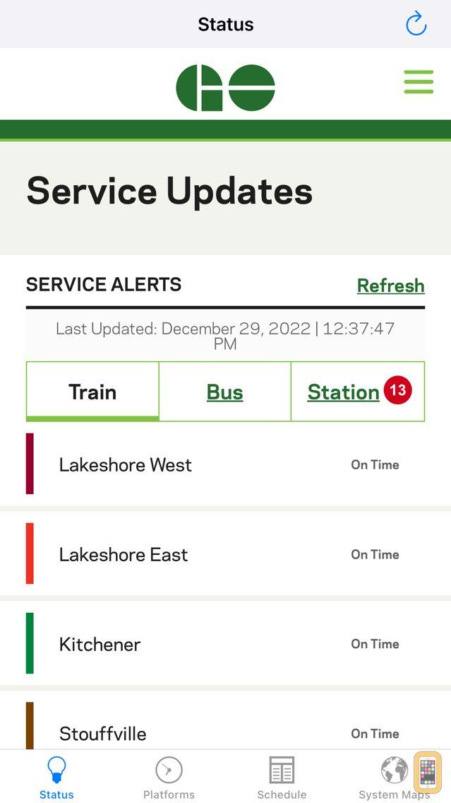 Screenshot - GOToronto: GO Transit Sidekick