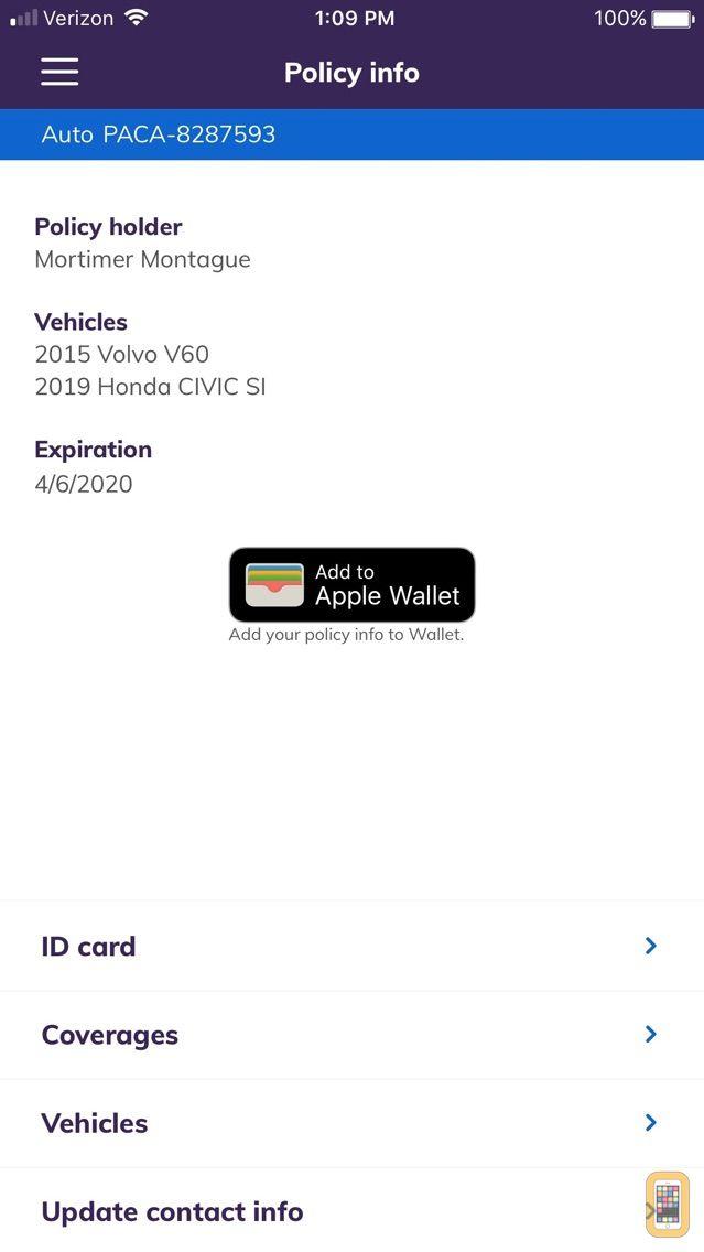 Screenshot - Esurance Mobile