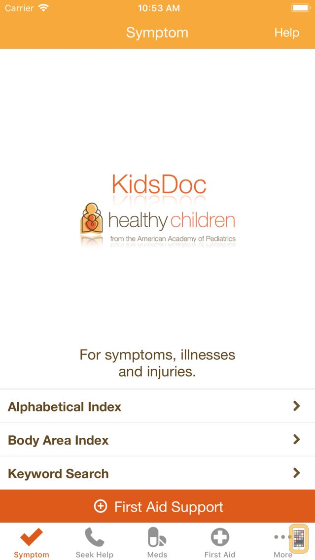 Screenshot - KidsDoc - from the AAP