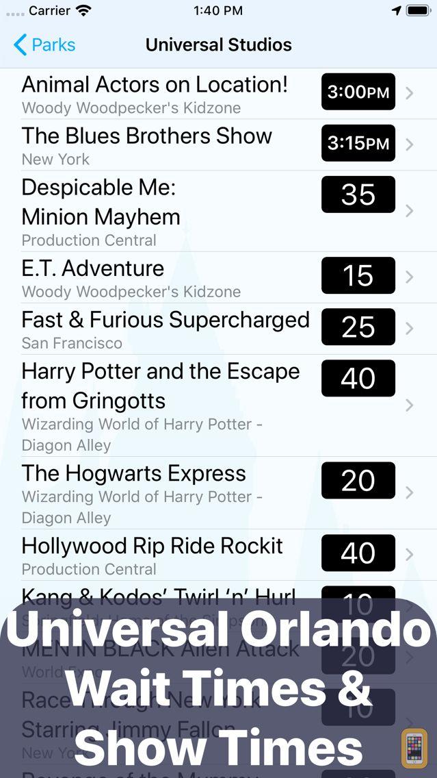 Screenshot - Wait Times: Universal Orlando