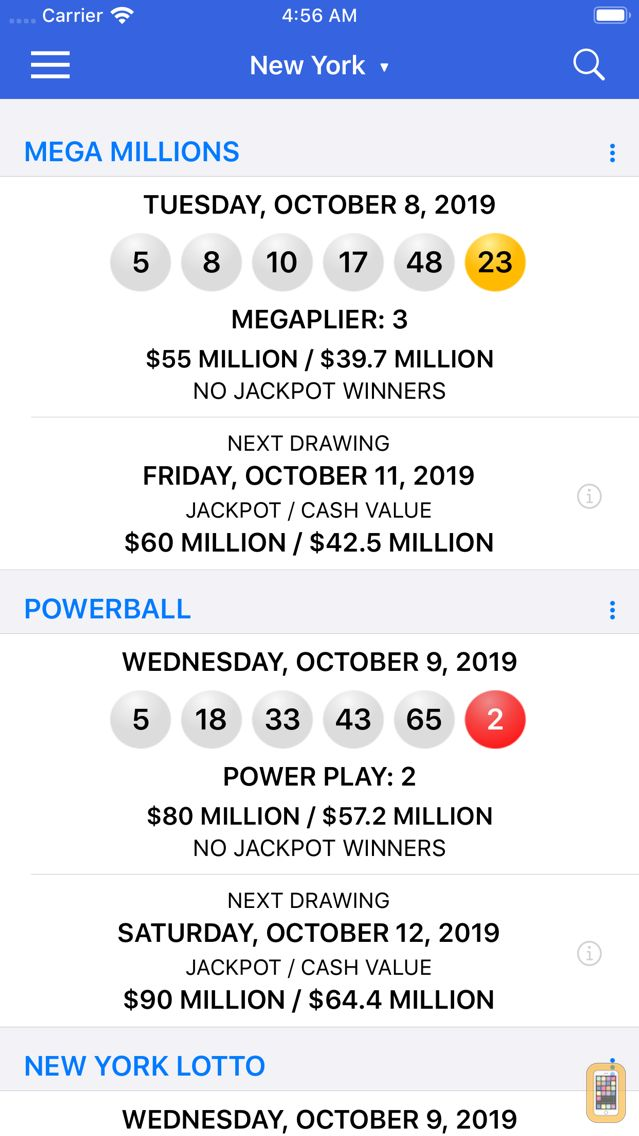 Screenshot - Lotto Results - Lottery in US