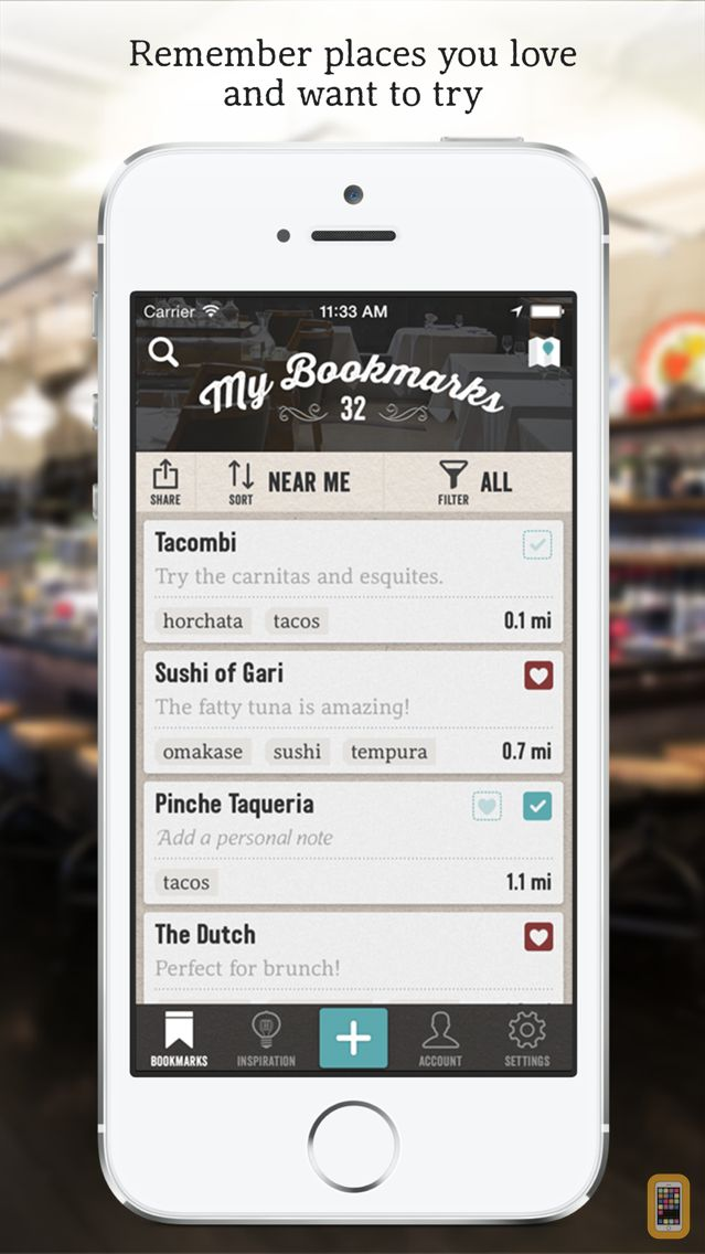 Screenshot - Matchbook - Save and Remember Great Restaurants and Bars