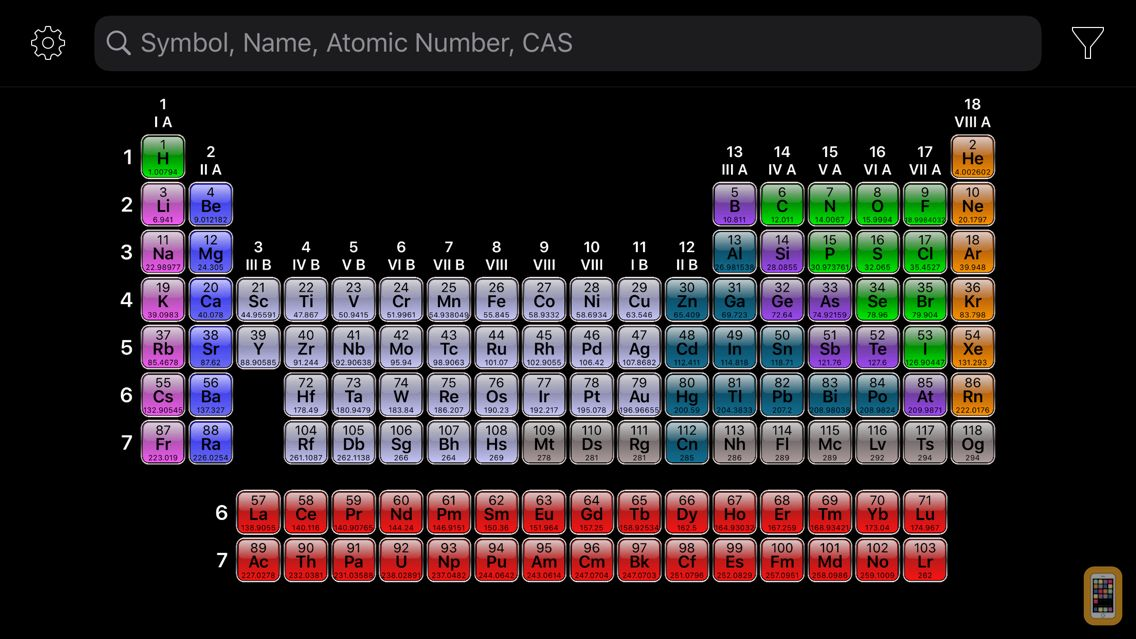 Screenshot - Periodic Table+