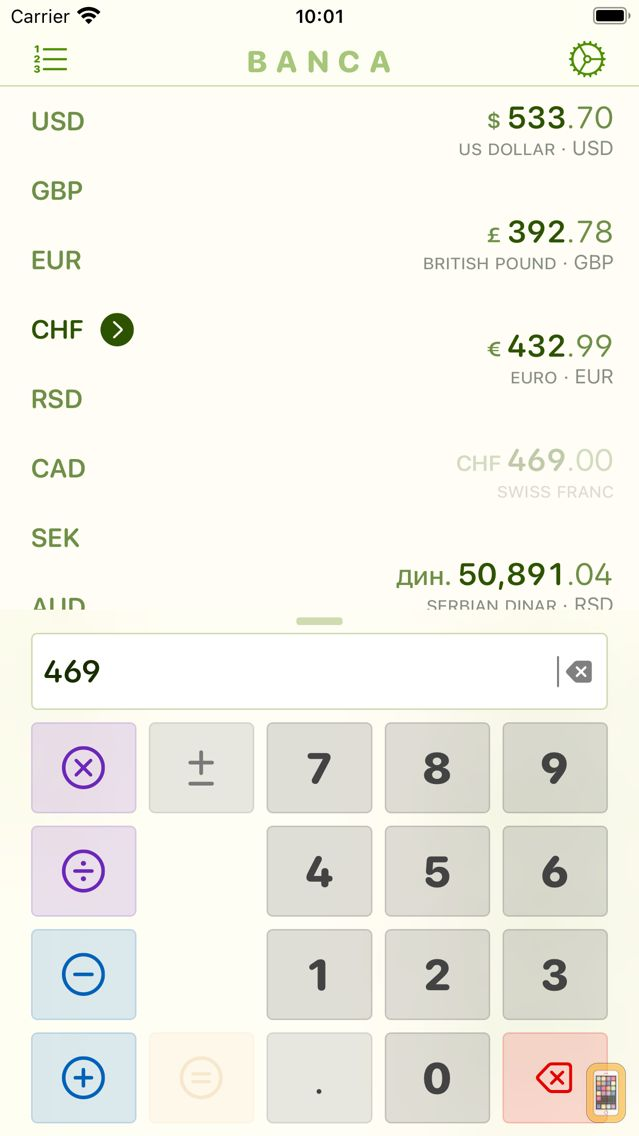 Screenshot - Banca currency converter