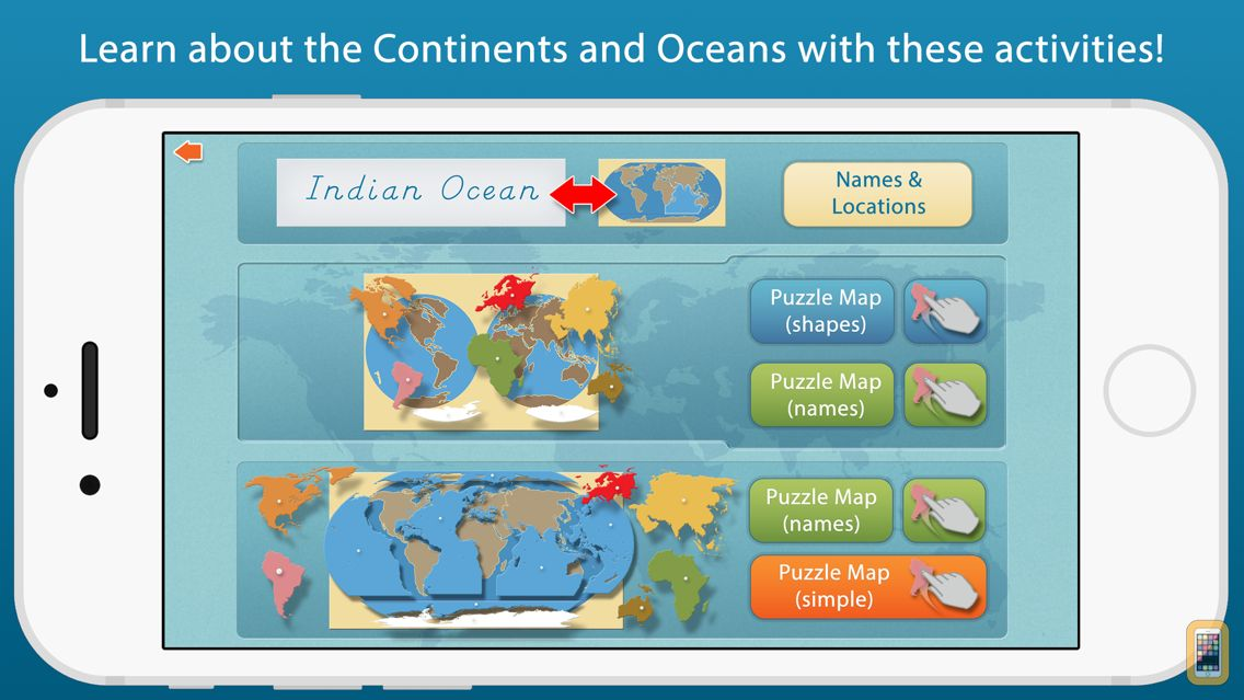 Screenshot - World Continents and Oceans - A Montessori Approach To Geography