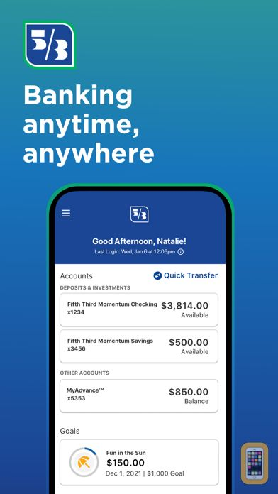 Screenshot - Fifth Third Mobile Banking