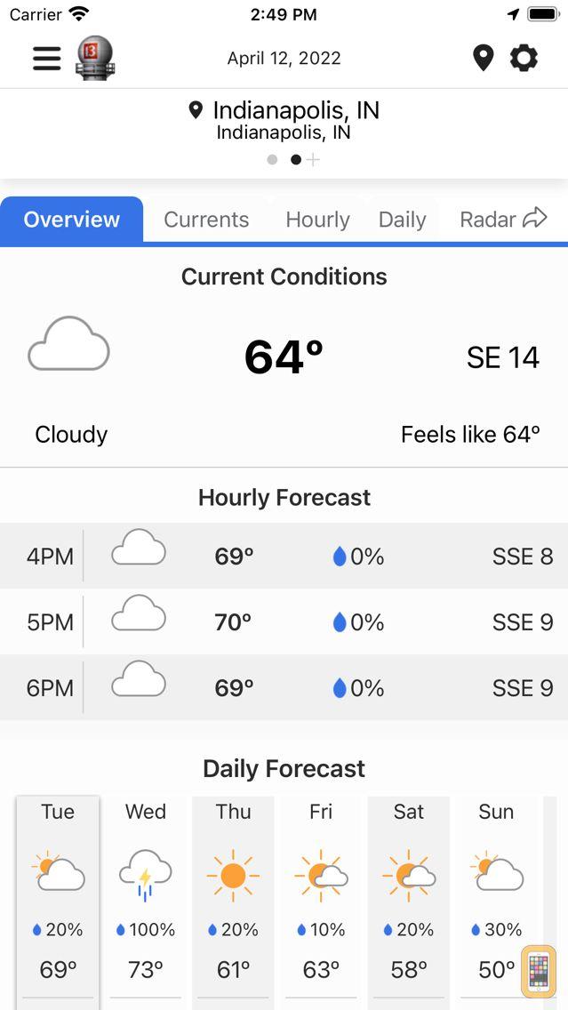 Screenshot - WTHR Live Doppler 13 Weather