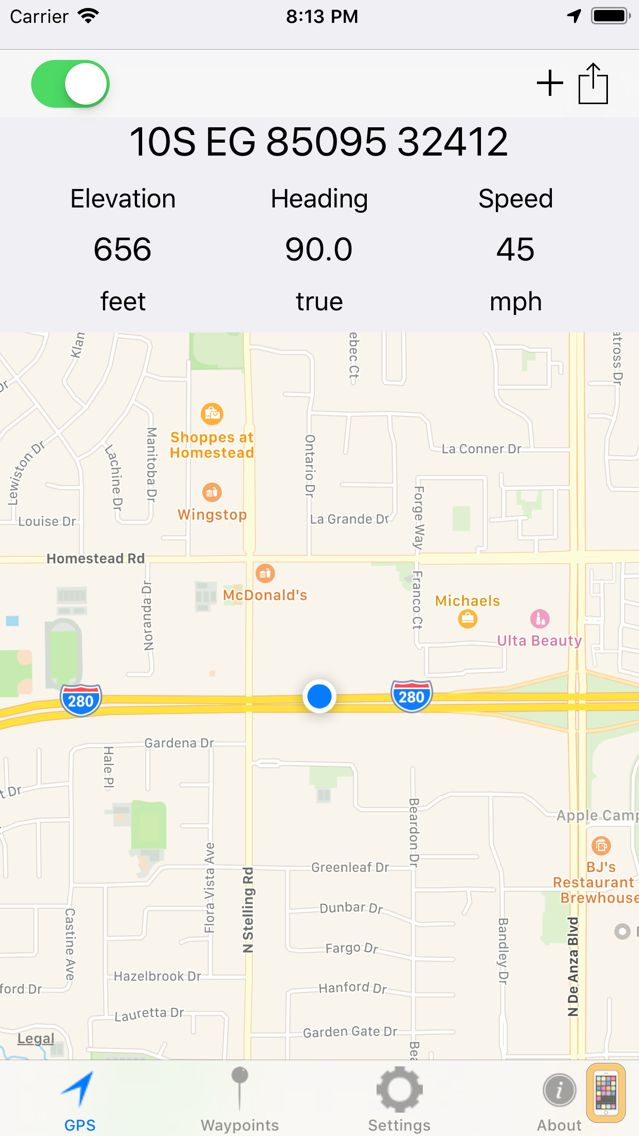 Screenshot - MGRS GPS