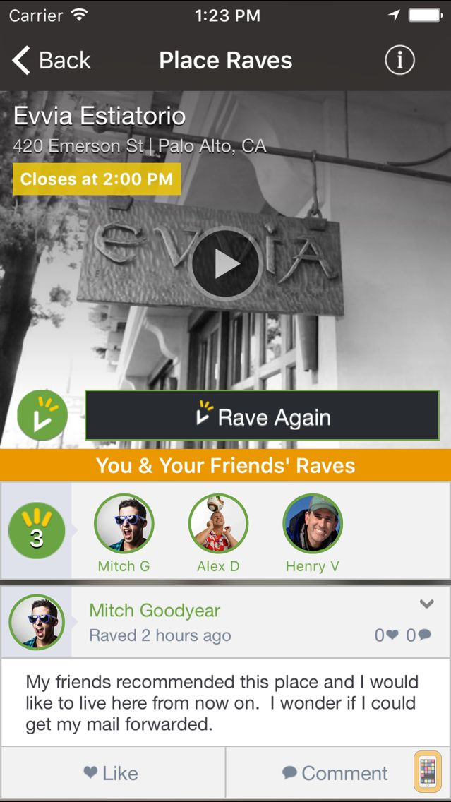Screenshot - Raved - Guide to Great Restaurants, Bars & Stores Nearby