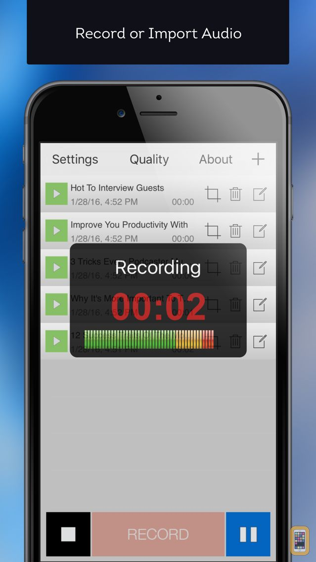 Screenshot - Mobile Podcaster - Record and Publish Your Podcast to WordPress, Libsyn and Dropbox