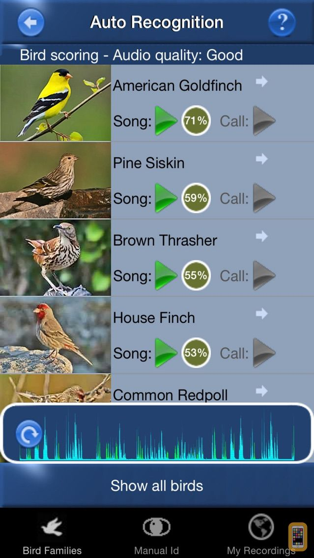 Screenshot - Bird Song Id USA Automatic Recognition Birds Songs