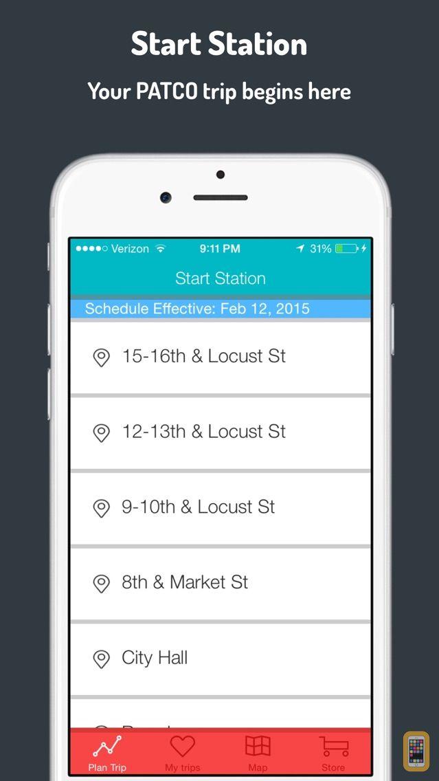 Screenshot - PATCO Schedule