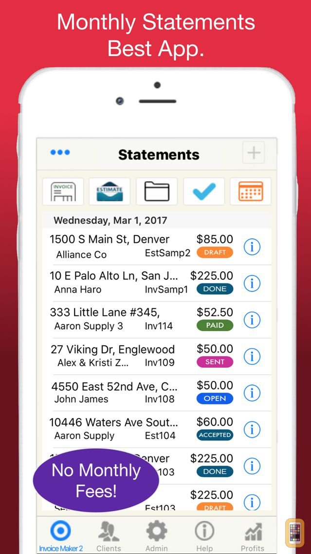 Screenshot - Statements for Monthly Billing