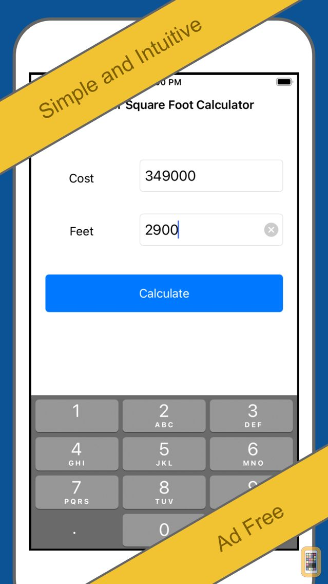 Cost Per Square Foot Calculator for iPhone - App Info