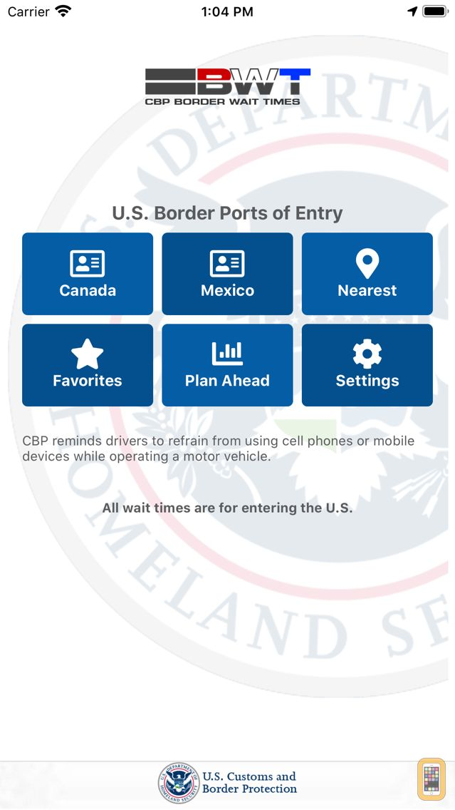Screenshot - CBP Border Wait Times